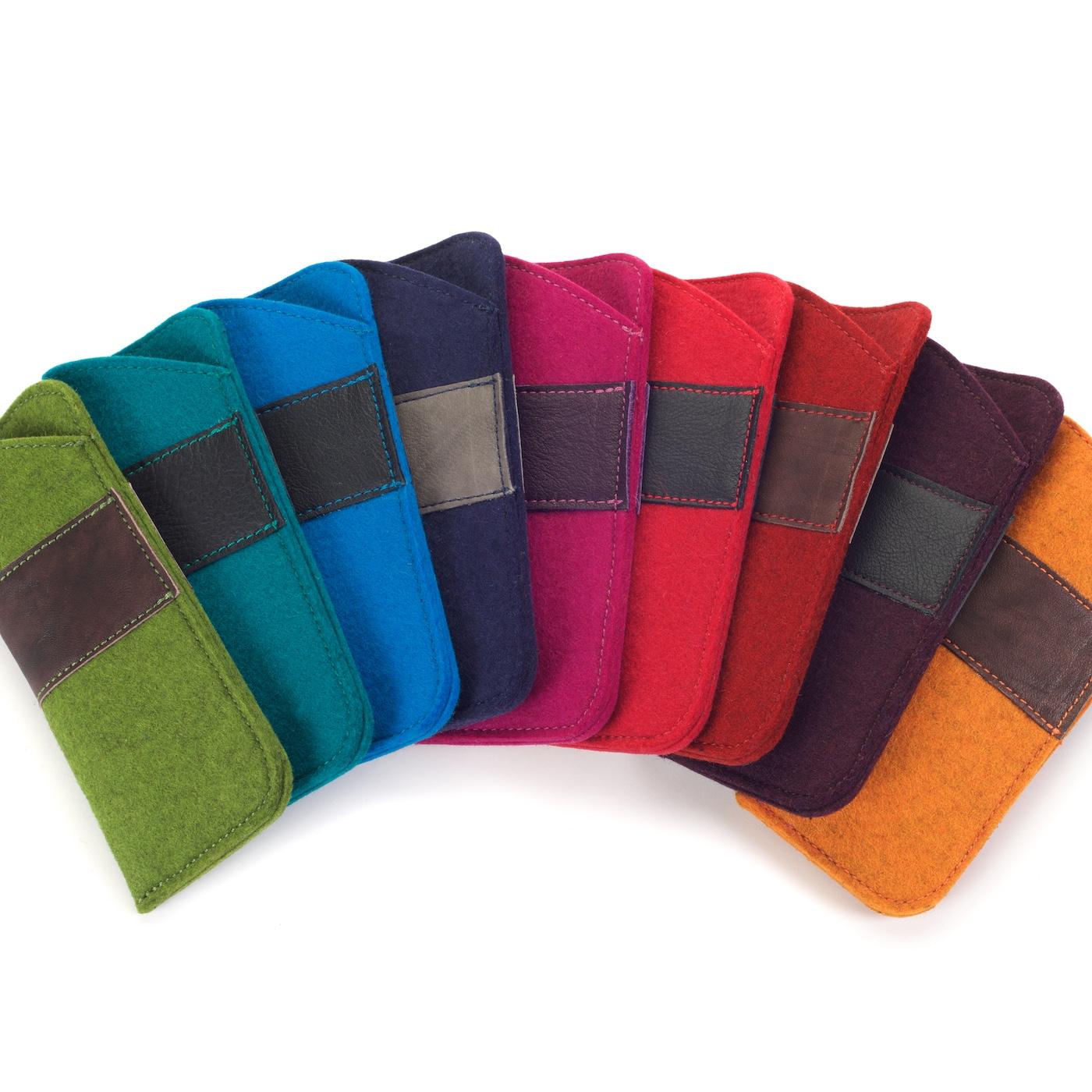 Brillenetui aus Wollfilz in verschiedenen Farben