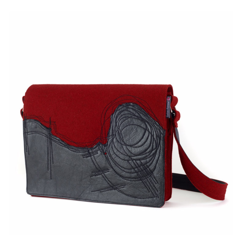 Filztasche Jule in rot mit schwarzem Leder