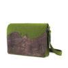 Filztasche Jule mit Lederaplikation in grün mit braunem Leder