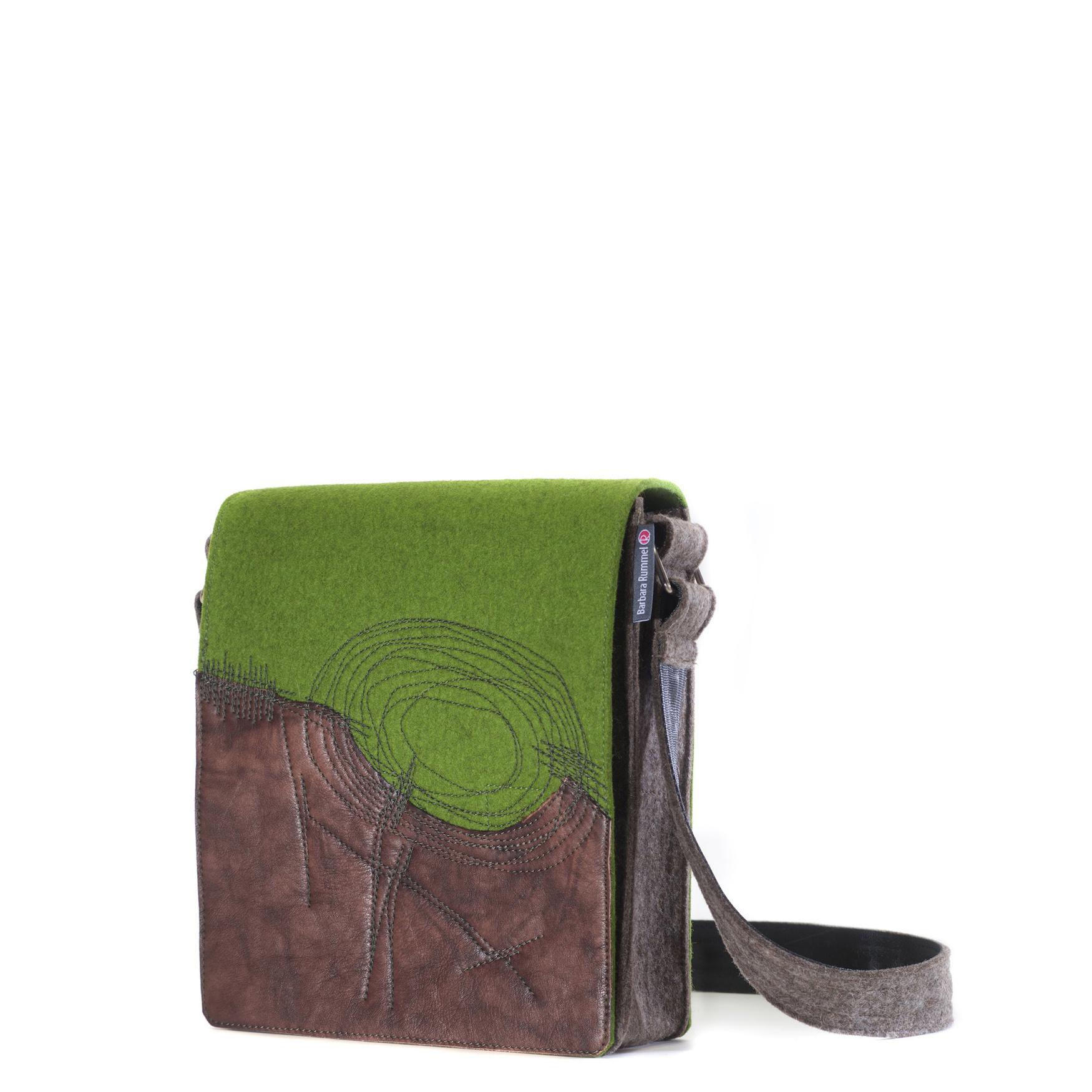 Handtasche Jule in Grün mit braunem Leder 2