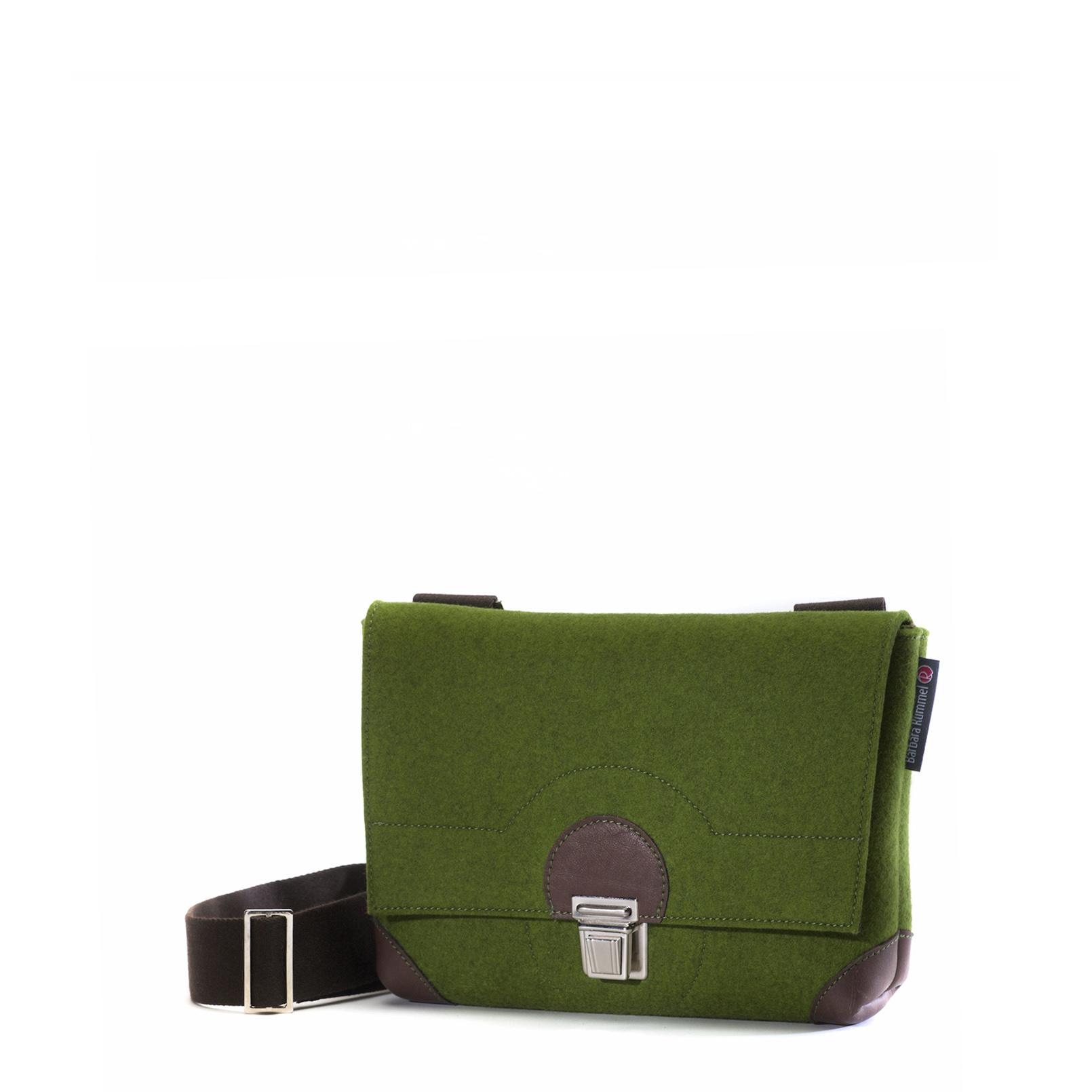 Handtasche kleine Lilly aus Filz in der Farbkombination Grün-Braun