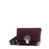 Handtasche kleine Lilly - Auberginefarbiger Filz - Graues Leder