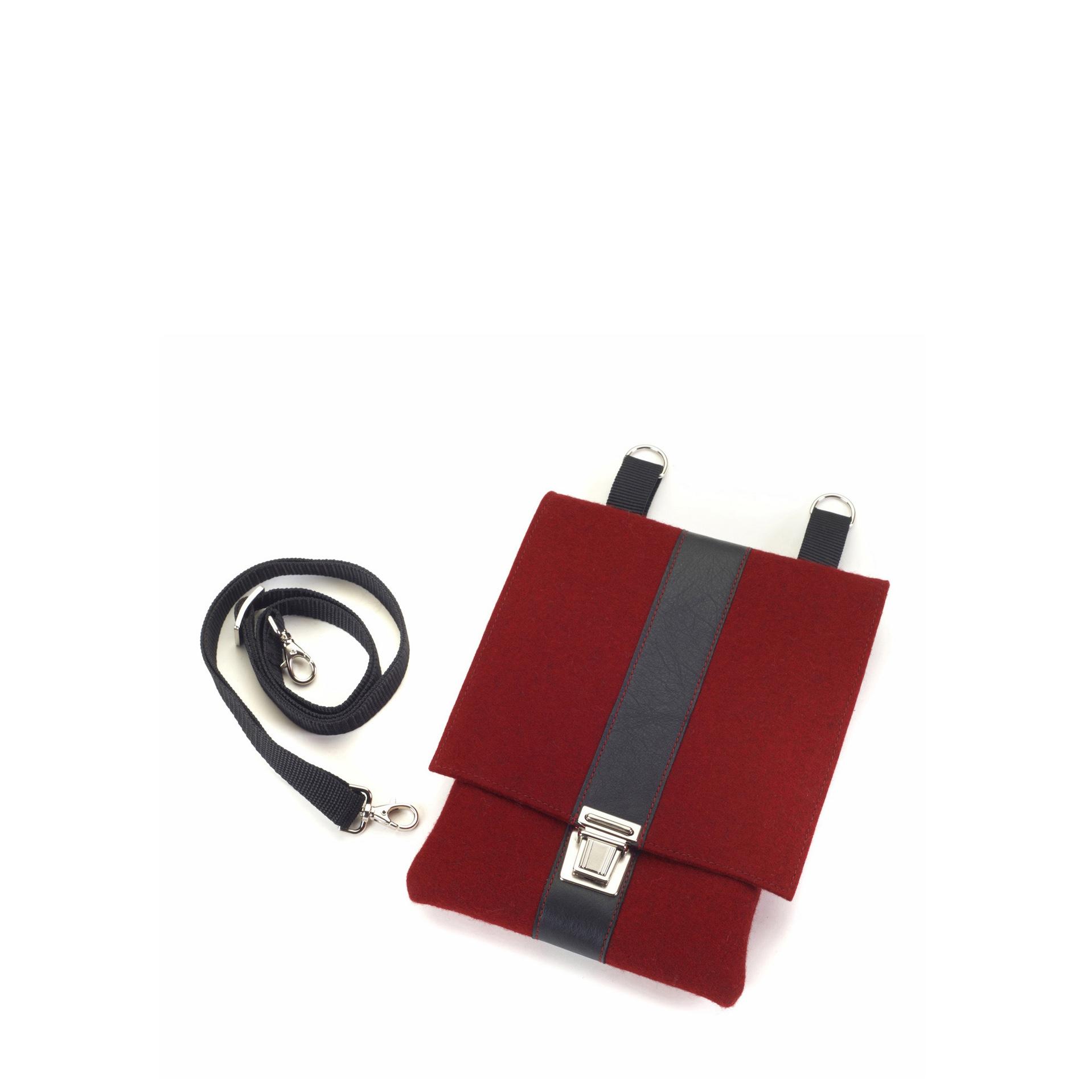 Handtasche Saskia Farbkombination Kirsch-Schwarz